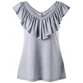 V Neck Tank Top with Ruched Ruffles
