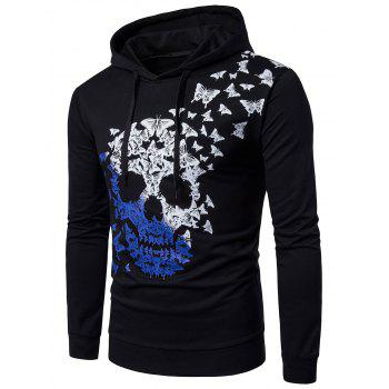 Butterfly and Ombre Skull Print Long Sleeve Hoodie