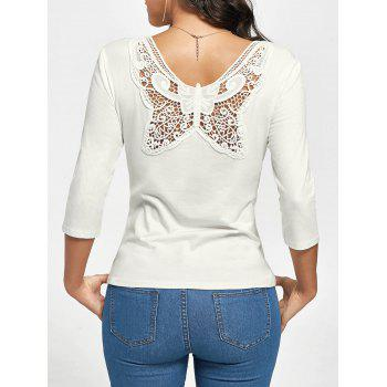 Scoop Neck Butterfly Lace Back T-shirt