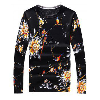 3D Flowers and Birds Print Long Sleeve Sweater