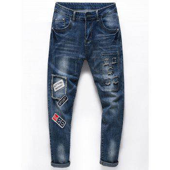 Distressed Letters Embroidered Ninth Jeans