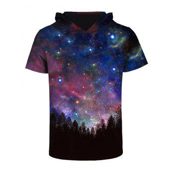 Hooded 3D Starry Sky Print Galaxy T-shirt