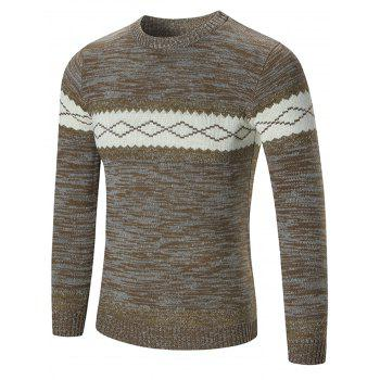 Crew Neck Rhombus Pattern Space Dyed Sweater
