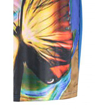 Butterfly Printed Plus Size Casual Tee Dress - BLUE BLUE