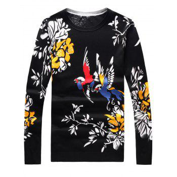 3D Birds and Floral Print Long Sleeve Sweater