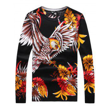 3D Flower and Eagle Print Long Sleeve Sweater
