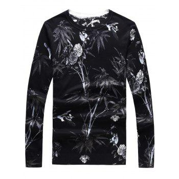 Crew Neck Long Sleeve 3D Flower Print Sweater