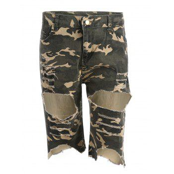 Camo Distressed Bermuda Shorts