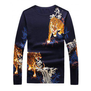 Crew Neck Long Sleeve 3D Tigers Print Sweater