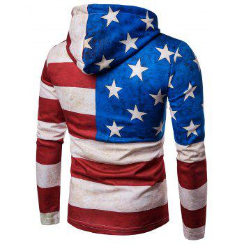 Distressed American Flag Print Long Sleeve Hoodie - COLORMIX 2XL