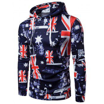 3D Star and Union Flag Print Patriotic Hoodie
