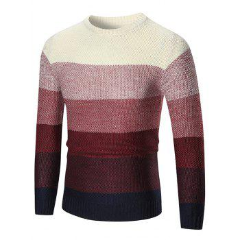 Pullover Crew Neck Ombre Sweater