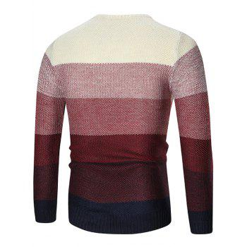 Pullover Crew Neck Ombre Sweater - RED M
