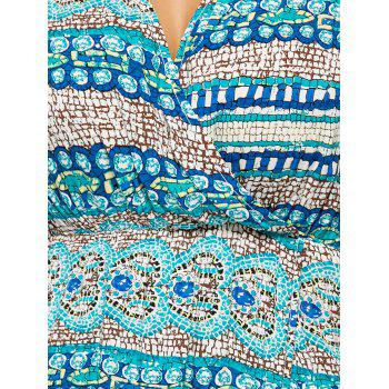 Plus Size Long Sleeve Maxi Bohemian Dress - LAKE BLUE 4XL