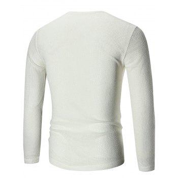 V Neck See Through Pullover Sweater - Blanc 3XL