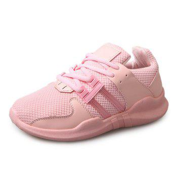 Breathable Faux Leather Insert Athletic Shoes - PINK 40