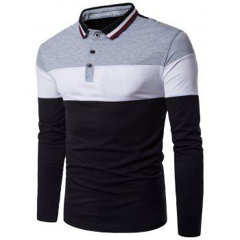 Color Block Rib Polo Collar Panel Design T-shirt