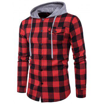 Hooded Panel Pocket Long Sleeve Tartan Shirt