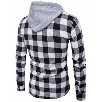Hooded Panel Pocket Long Sleeve Tartan Shirt - BLACK WHITE M
