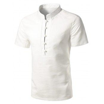 Mandarin Collar Short Sleeve Casual Shirt