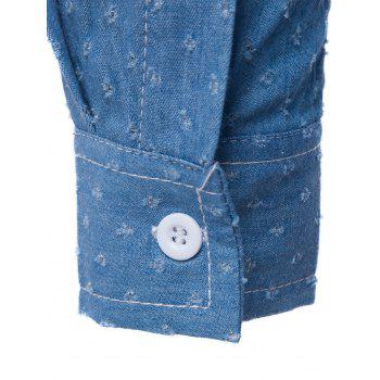 PU Leather Embellished Holes Long Sleeve Denim Shirt - M M