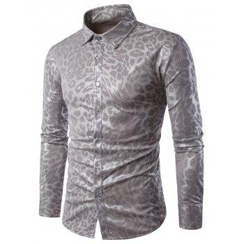 Leopard Pattern Gilding Long Sleeve Shirt - DEEP GRAY 2XL