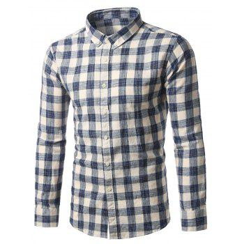 Long Sleeve Plaid Button-Down Shirt - BLUE 3XL