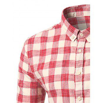 Long Sleeve Plaid Button-Down Shirt - RED RED