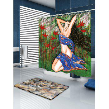 Girl Oil Painting Fabric Bathroom Shower Curtain - COLORMIX W71 INCH * L79 INCH