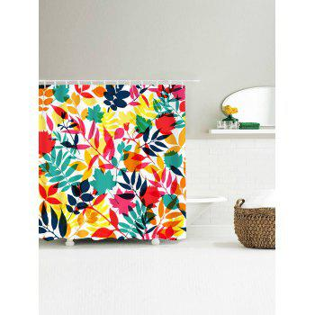 Waterproof Tropical Leaf Print Shower Curtain - COLORFUL W71 INCH * L71 INCH