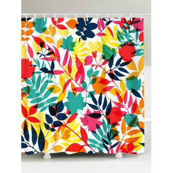 Waterproof Tropical Leaf Print Shower Curtain