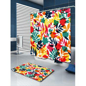 Waterproof Tropical Leaf Print Shower Curtain - COLORFUL W71 INCH * L79 INCH
