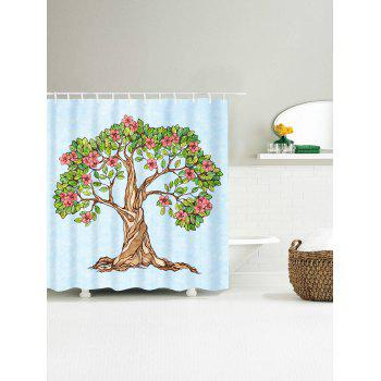 Waterproof Floral Tree of Life Shower Curtain - LIGHT BLUE W71 INCH * L79 INCH