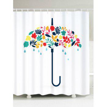 Waterproof Umbrella Leaf Print Shower Curtain