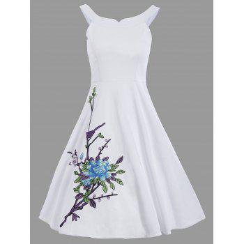 Embroidery Floral A Line Spaghetti Strap Dress