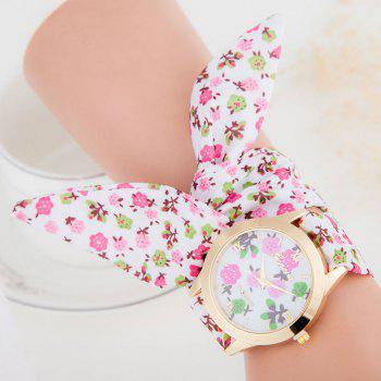 Floral Cloth Strap Number Watch