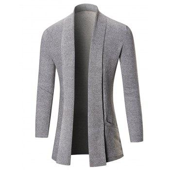 Heathered Shawl Collar Open Front Cardigan