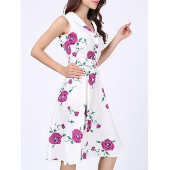 Floral Print Vintage Swing Dress - 2XL 2XL