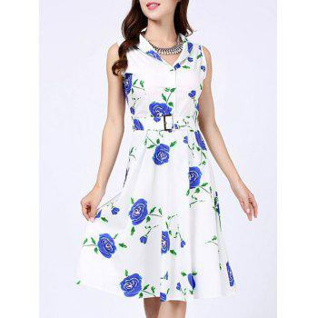 Floral Print Vintage Swing Dress - BLUE S