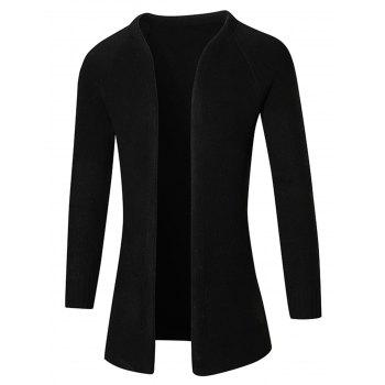 Plain Raglan Sleeve Open Front Cardigan - BLACK BLACK