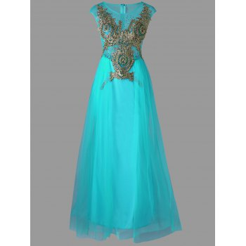 Sleeveless Tull Floor Length A Line Dress