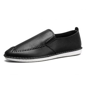 Round Toe Faux Leather Slip On Shoes - BLACK 42
