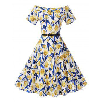 Off The Shoulder Floral Print Skater Dress - BLUE AND YELLOW BLUE/YELLOW