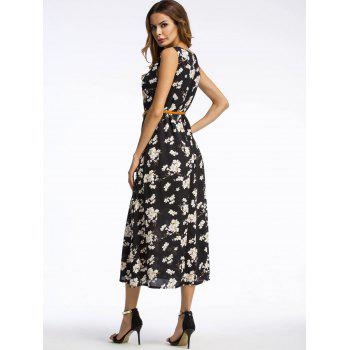 Bohemian Daisy Print Midi Dress - BLACK BLACK