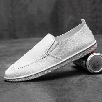 Round Toe Faux Leather Slip On Shoes - WHITE 44
