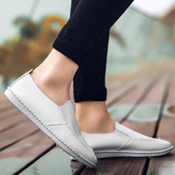 Round Toe Faux Leather Slip On Shoes