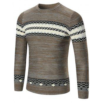 Crew Neck Geometric Pattern Space Dyed Sweater - KHAKI 2XL
