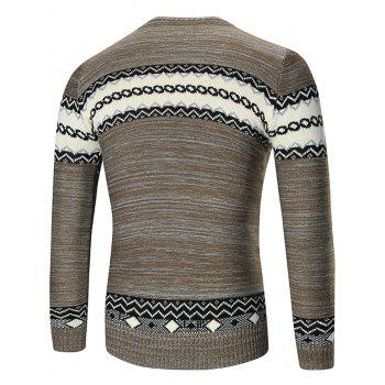 Crew Neck Geometric Pattern Space Dyed Sweater - 2XL 2XL
