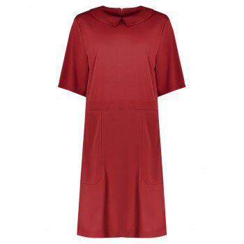 Plus Size Collared A Line Dress with Pockets - RED RED