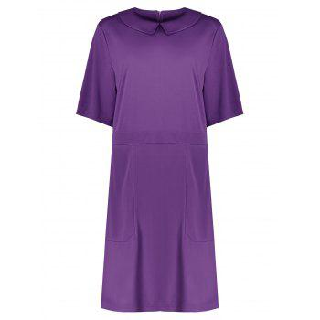 Plus Size Collared A Line Dress with Pockets - PURPLE 2XL
